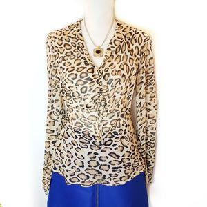 The Limited Leopard print silk chiffon blouse, L